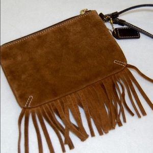 Coach Tan Brown Suede Fringed like new Wristlet
